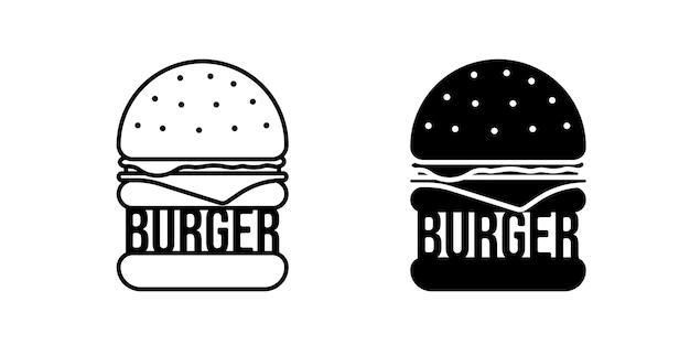 Ícone preto isolado de fast food de hambúrguer definir símbolo linear de hambúrguer para menu de café ou restaurante