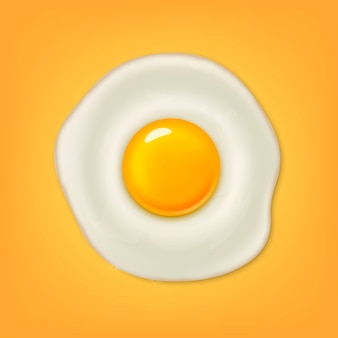 Ícone realista de ovo frito em fundo amarelo. modelo.