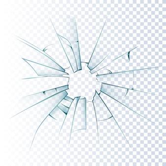 ícone realista quebrado vidro fosco
