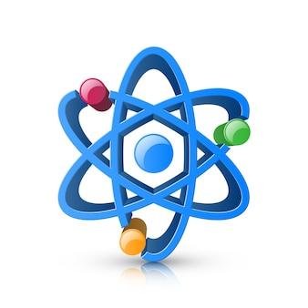 Ícone realístico do átomo 3d no fundo branco.