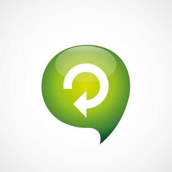 Ícone recarregar logotipo do símbolo do pensamento bolha verde, isolado no fundo branco