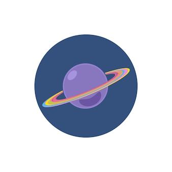 Ícone redondo colorido de saturno, ícone do planeta, ilustração vetorial