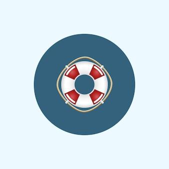 Ícone redondo com bóia salva-vidas colorida, ilustração vetorial