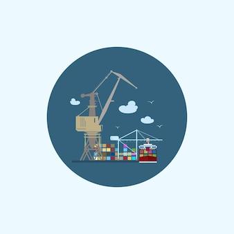 Ícone redondo com porta-contêineres coloridos com nuvens e gaivotas, ícone de logística, descarregando contêineres de um navio cargueiro nas docas com guindaste de carga, ilustração vetorial
