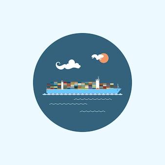Ícone redondo com porta-contêineres coloridos, nuvens e sol, ícones de logística, ilustração vetorial