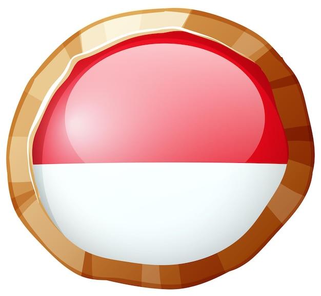 Ícone redondo da bandeira da indonésia