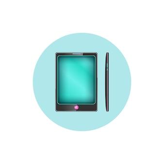 Ícone redondo de telefone colorido, ícone do gadget, ilustração vetorial