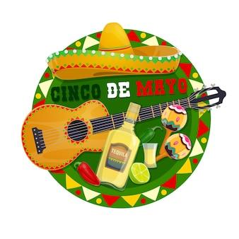 Ícone redondo do cinco de mayo com chapéu sombrero tradicional de símbolos mexicanos