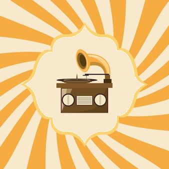 Ícone retro do gramofone sobre fundo listrado amarelo