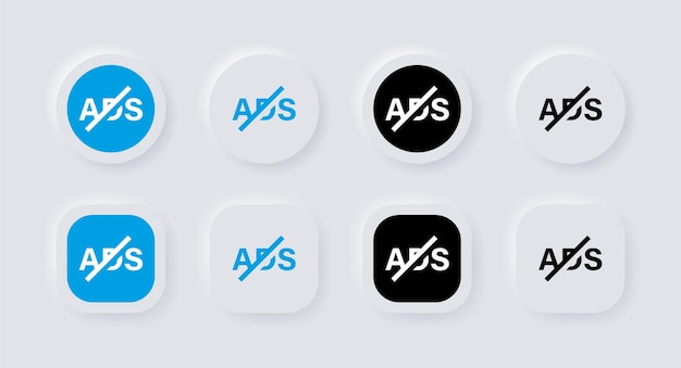 Ícone sem anúncios com botões de neumorfismo ou bloqueio de anúncios proibido para sinal de interface neumoral