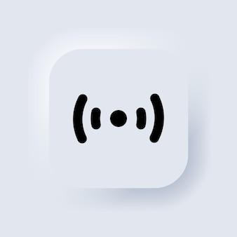 Ícone sem fio e wi-fi. símbolo do sinal wi-fi. sinal de visualização do ícone sem fio wi-fi. coleção de acesso remoto à internet. botão da web da interface de usuário branco neumorphic ui ux. neumorfismo. vetor eps 10.