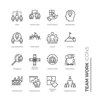Ícone simples conjunto de trabalho em equipe