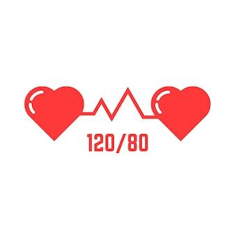 Ícone simples de pressão arterial. conceito de ecg abstrato, indicador, medida, sistólica, amor, emblema do tonômetro, doença. ilustração em vetor design moderno logotipo vermelho tendência estilo plano no fundo branco