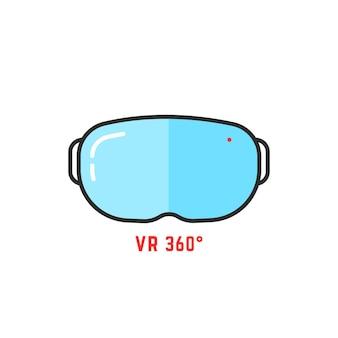 Ícone simples dos óculos 360 de vr. conceito de cyberpunk, ilusão, tela futurista, tecnologia, equipamento estereoscópico, interativo. ilustração em vetor design de logotipo moderno tendência estilo plano no fundo branco