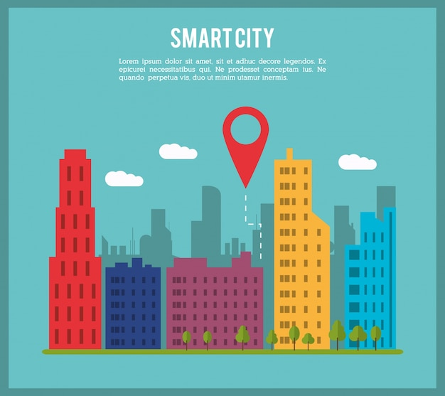 Ícone smart city e gps