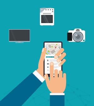 Ícone smart city e smartphone