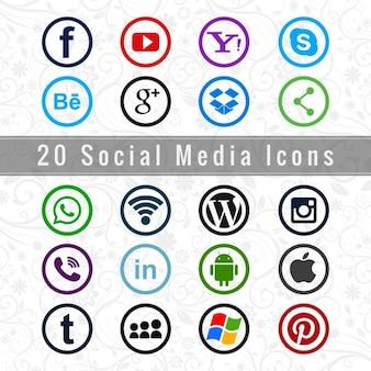 Ícone social media set