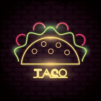 Ícone taco neon lights
