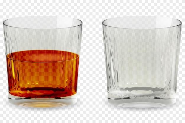 Ícone transparente realista de copo de copo de uísque. ilustração em vetor em copo de bebida alcoólica