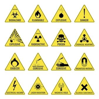 Ícone triangular amarelo de aviso de perigo