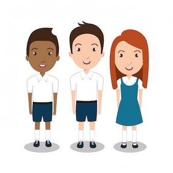 Ícone uniforme de grupo de estudantes
