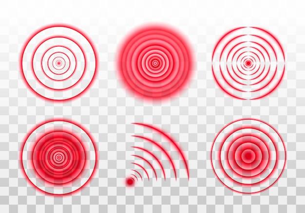Ícone vermelho do círculo de dor para analgésicos. simbolizando dor ou parte da dor do corpo, dores de cabeça. o corpo tem pontos doloridos. conjunto de problemas médicos de um alvo radial.