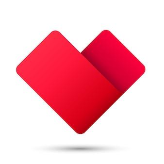 Ícone vermelho do logotipo 3d do sinal da fita do coração