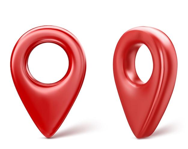 Ícone vermelho do ponteiro do pino do mapa 3d realista. isolado em um fundo branco. ilustração vetorial.