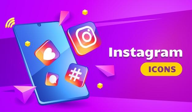 Ícones 3d do instagram sofisticados com smartphone
