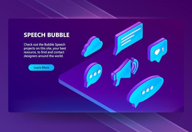 Ícones 3d isométricos de bolhas do discurso