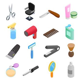 Ícones 3d isométricos de loja de barbeiro