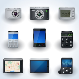Ícones 3d realistas eletrônicos modernos, conjunto de elementos de interface