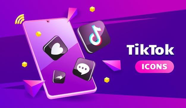 Ícones 3d tiktok sofisticados com smartphone