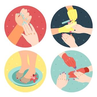 Ícones 4x1 isométricos de processo de manicure e pedicure definidos com mãos, pés e unhas pintadas 3d isoladas