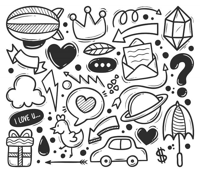 Ícones abstratos rabisco mão desenhada doodle para colorir
