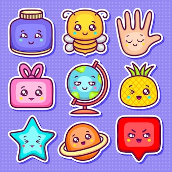 Ícones adesivo kawaii mão desenhada doodle para colorir