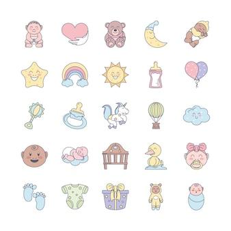 Ícones adoráveis de bebê