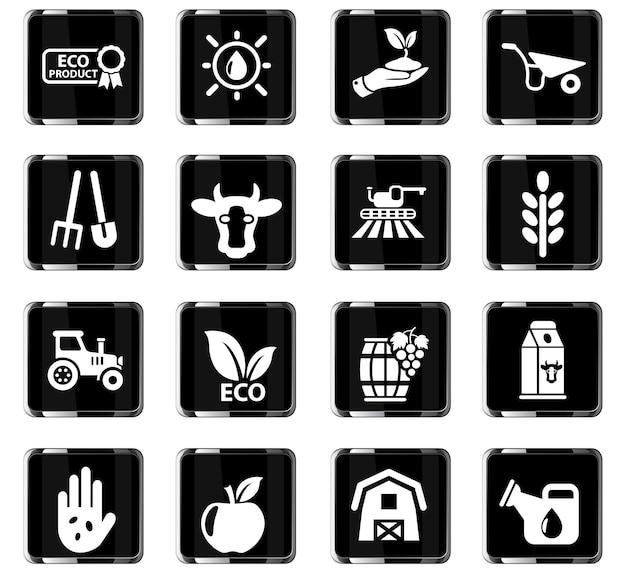 Ícones agrícolas da web para design de interface do usuário