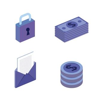 Ícones ajustados isométricos da transação finacial