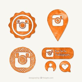 Ícones alaranjados do instagram aguarela