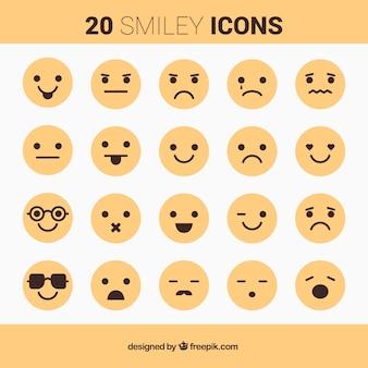 Ícones amarelos do smiley