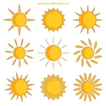 Ícones amarelos ensolarados