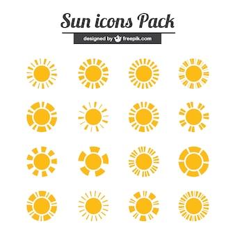 Ícones amarelos sol embalar