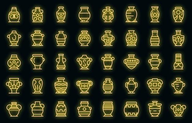 Ícones ânfora definidos vetor neon
