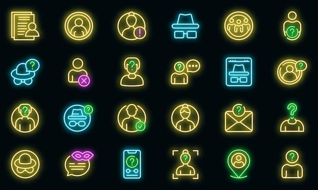 Ícones anônimos definidos vetor neon