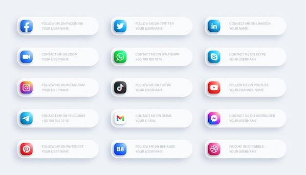 Ícones arredondados do terço inferior da rede de mídia social banner 3d definido em fundo claro Vetor Premium