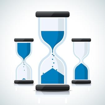 Ícones azuis de relógio de areia com estilo empresarial