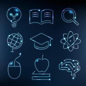 Ícones azuis de tecnologia educacional vetoriais conjunto gráfico digital e científico