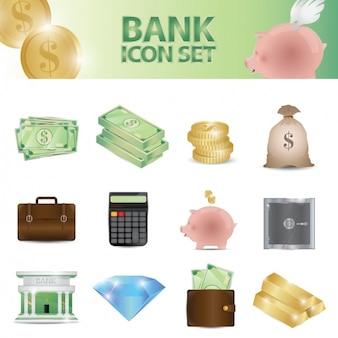 Ícones banco definido