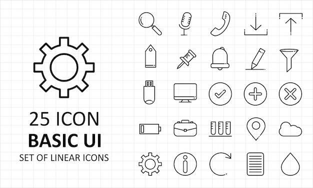 Ícones básicos de pixel da folha de ícones da interface do usuário